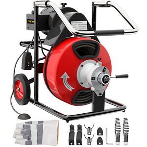 Vevor 100ftx1 2 Drain Cleaner 550w Drain Cleaning Machine Snake Sewer W cutter