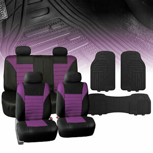 Universal Car Seat Cover For Auto Purple Black W Black All Weather Floor Mats