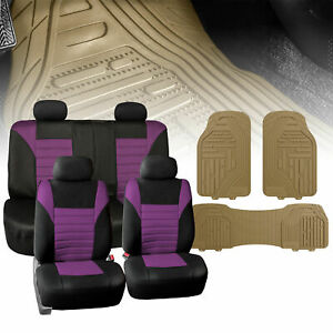 Universal Car Seat Cover For Auto Purple Black W Beige All Weather Floor Mats
