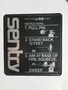 Sentry Fire Extinguisher Instructions Sticker P n 24195