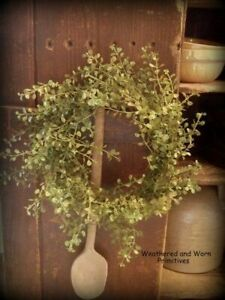 Primitive Country Faux 12 Variegated Green Peppergrass Wreath