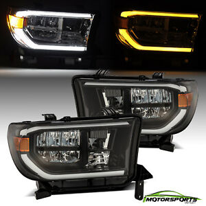 For Toyota 07 13 Tundra 08 17 Sequential Signal Drl Alpha Black Led Headlights