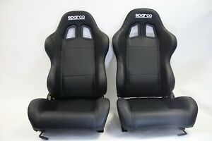 2 Seats Sparco Racing Tuner Black Vinyl Seats Free Shipping New Pair Two