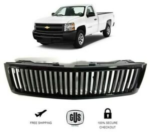 Fits 2007 2013 Chevy Silverado 1500 Front Grille Vertical Billet Style Black