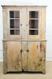 19th C Antique Virginia Step Back Cupboard Cabinet Early American