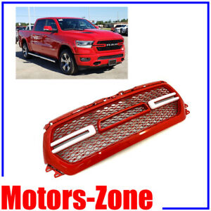 Painted Flame Red Grill For 2019 2020 Dodge Ram 1500 Grille W Smoke Led Lights