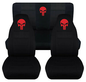 Front Rear Car Seat Covers Black W Red Punisher Fits Jeep Wrangler Yj Tj Lj
