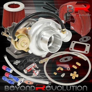 T3 t4 Turbo V bnad Air Filter Heat Shield Oil Lines Boost Controller Red Chrome