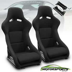 Universal Black Left right Fabric Fabric Sport Style Racing Seats slider Pair