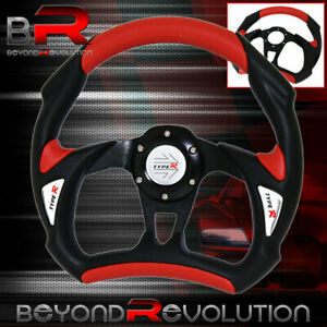 Red Black Pvc 320mm 6 Bolt Hole Steering Wheel Horn Type r Button Racing