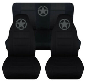 Front Rear Car Seat Covers Black W Charcoal Star Fits Jeep Wrangler Yj Tj Lj