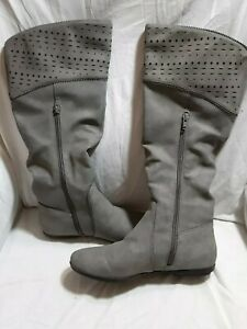 Seven Dials Dillon Gray Faux Leather Perforated Knee High Boots Size 7M J1856 MY $16.00