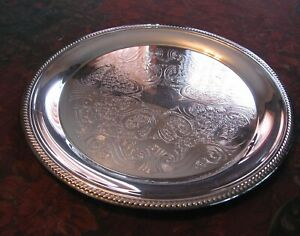 F B Rogers Silver Plate Serving Tray Ornate Design Silver On Copper 10 3 4