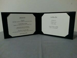 Menu Cover 6 X 4 Deluxe Black Leather 2 View Light Use Lot Of 4 Each