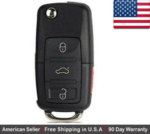 1 New Replacement Key Fob Remote Flip 3 Button For Volkswagen Read Description