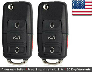 2 New Replacement Key Fob Remote Flip 3 Button For Volkswagen Read Description