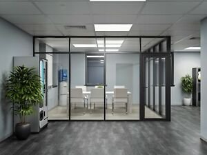 Cgp Glass Aluminum 2 Wall Office Partition System W door 9 x6 x9 Black