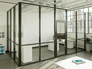 Cgp Glass Aluminum 2 Wall Office Partition System W door 12 x6 x9 Black