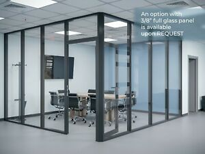 Cgp Glass Aluminum 2 Wall Office Partition System W door 13 x6 x9 Black