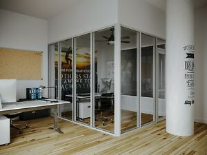Cgp Glass Aluminum 2 Wall Office Partition System W door 9 x6 x9 Clear Anodized