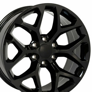 22x9 Wheels Fit Silverado Sierra Chevy Snowflake Gloss Blk Rims 5668 Used Set