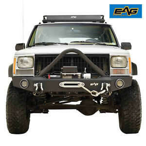 Eag Fits 84 01 Jeep Cherokee Xj Stinger Front Bumper With Winch Plate