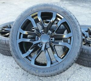 22 Black Gmc Sierra Yukon Denali Wheels Rims Tires Chevy Silverado Tahoe New