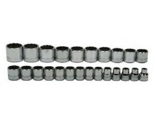 24 piece 1 2 Drive Shallow 6 pt Metric Socket Set On Clip Rail Williams 32941