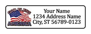 400 God Bless America Personalized Return Address Labels 1 2 Inch By 1 3 4 Inch