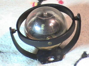 Rare Very Unusual Vintage Auto Boat Compass Visi dome Floating Cantilever Brass