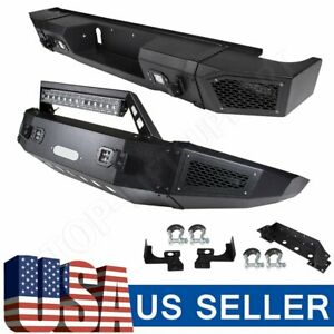 For Chevy Silverado 2500 15 17 Rear Front Bumper Steel Textured Led Lights