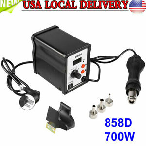 858d Electric Rework Soldering Station Iron Kit W Hot Air Gun Led Light 110v