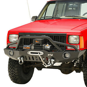 Front Bumper With Led Lights Fit 84 01 Jeep Cherokee Xj