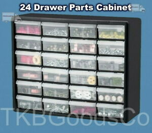 Parts Storage Cabinet 24 Drawer Bins Bolts Nuts Office Garage Workshop Organizer