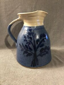 Awesome Vintage Blue Cream Stoneware Pottery Pitcher Signed By Artist