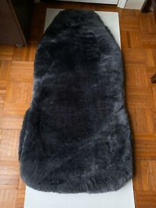 Black Genuine Shearling Wool Full Front Car Seat Cover