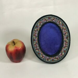 Antique Russian Enamel Silver Oval Picture Frame