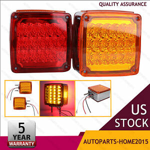 2pcs Amber Red 39 Led Side Marker Double Face Stud Mount Turn Tail Light Lamps