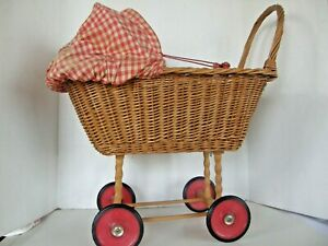 Vintage Doll Baby Carriage Buggy Baby Wicker Rattan Rubber Wheels