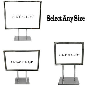 Counter Cardframe Display Clothes Rack Fixture Sign Holder Chrome Plated Steel