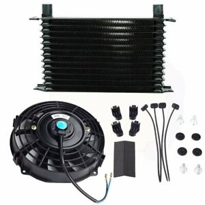13 Row 10an Engine Transmission Oil Cooler 7 Electric Black Fan Kit Universal