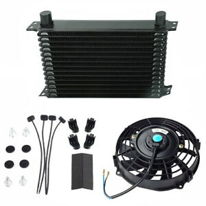 15 Row 10an Engine Transmission Oil Cooler 7 Electric Fan Kit Universal New