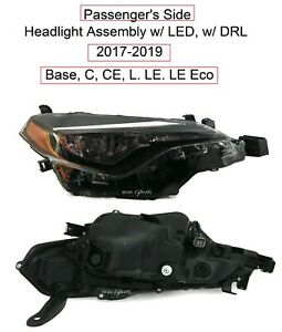 Passenger Rh Headlight Assembly For Fits 2017 2019 Toyota Corolla C L Le Le Eco