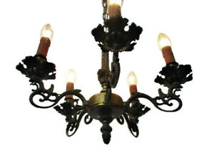 Gothic Style Brass Dragons 5 Arms Lights Chandelier Lamp Hollywood Regency