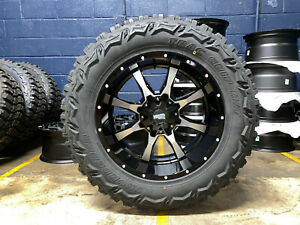 20x10 Black Moto Metal Mo970 35 Mt Wheels Rims Tires 8x170 Ford Super Duty F350