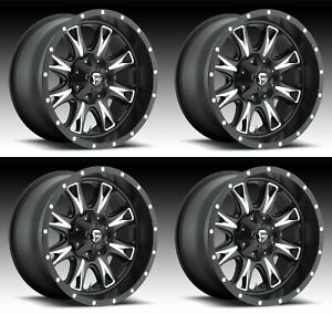 4x Fuel 20 Throttle D513 Wheels Black Milled 20x10 6x135 24mm Offset 4 50 Bs