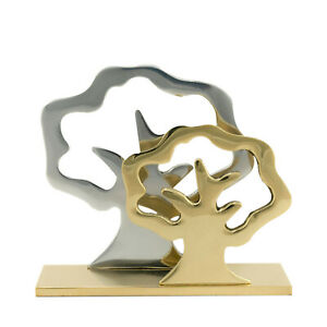 Business Card Holder Handmade Solid Metal Brass Aluminum 2 Trees Design