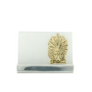 Business Card Holder Handmade Of Solid Metal Aluminum Brass Antefix Design