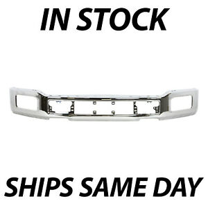 New Chrome Steel Front Bumper Face Bar For 2018 2020 Ford F 150 W Fog 18 20