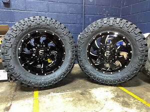20 Fuel Cleaver Dually D574 Wheels 35 Nitto Mt Tires 8x210 Chevy Gmc Set 6